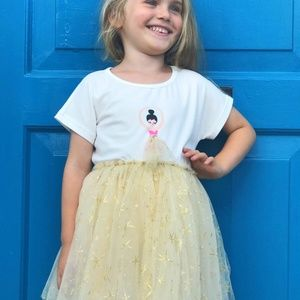 Doe a Dear Girls Ballerina Set Tulle Tutu skirt